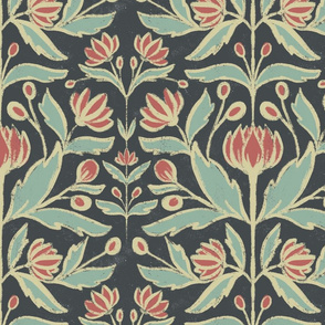 Textured Vintage Art Nouveau Floral