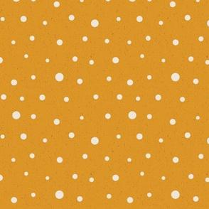 Random Dots on Yellow // polkadot yellow cream pattern fabric