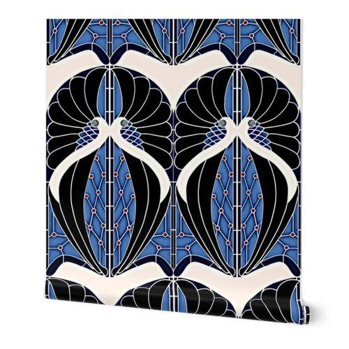 Peacocks Blue Art Nouveau