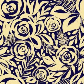 Yellow Floral Rose Botanical