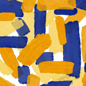 Bold Yellow And Blue Brushstrokes