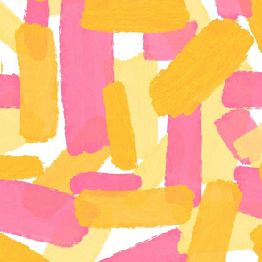 Bold Yellow And Pink Brushstrokes
