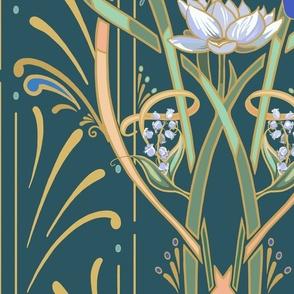 Art Nouveau Dragonflies | Deep Teal Green