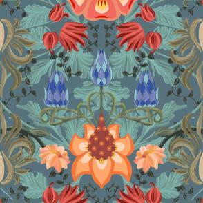 Art Nouveau Summer Slate Blue