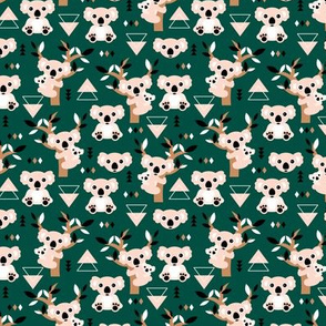 Koala winter geometric Australian animal kids fabric forest green brown SMALL
