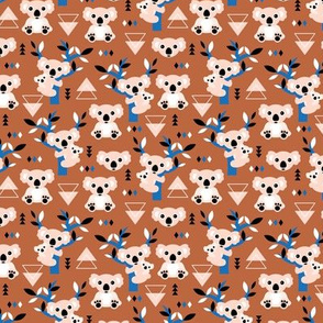 Koala winter geometric Australian animal kids fabric forest classic blue brown copper rust SMALL