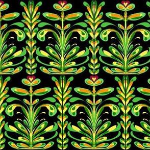 A Fertile Field of Fantasy Ferns on Black - Medium Scale