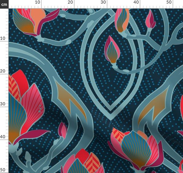 Magnolia Art Nouveau Big Scale Home Spoonflower