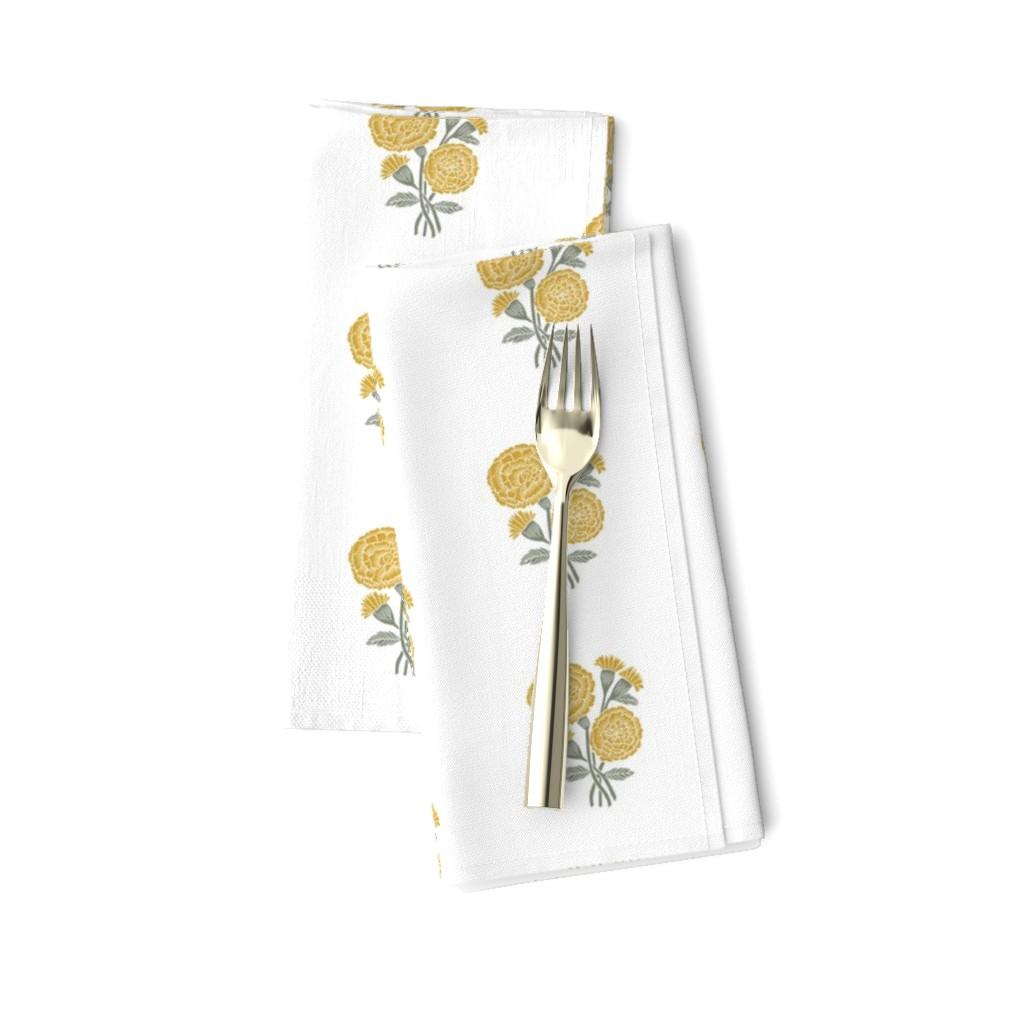 Amarela Dinner Napkins featuring marigold fabric - indian block print inspired, block print flower, flower fabric, block print fabric, woodcut - yellow by andrea_lauren