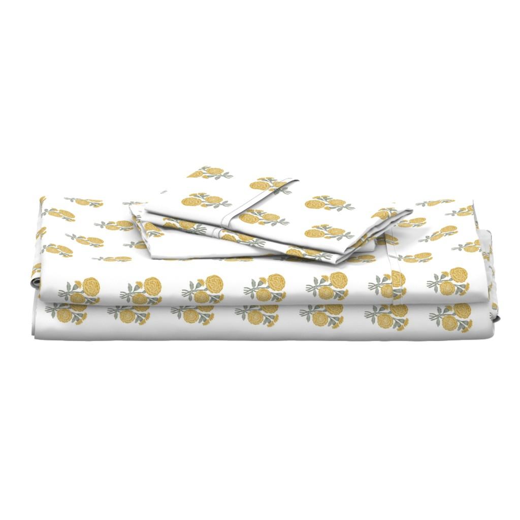 Langshan Full Bed Set featuring marigold fabric - indian block print inspired, block print flower, flower fabric, block print fabric, woodcut - yellow by andrea_lauren