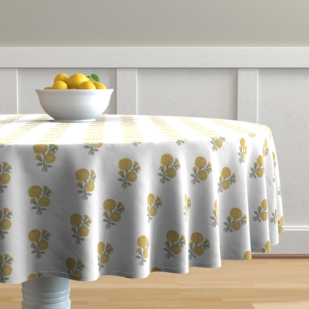 Malay Round Tablecloth featuring marigold fabric - indian block print inspired, block print flower, flower fabric, block print fabric, woodcut - yellow by andrea_lauren