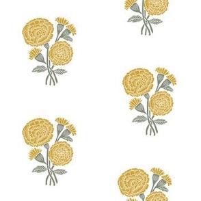 marigold fabric - indian block print inspired, block print flower, flower fabric, block print fabric, woodcut - yellow