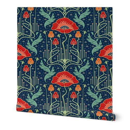 art nouveau poppy red wallpaper