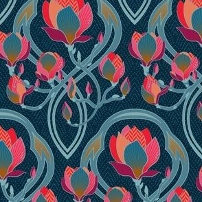 Magnolia Art Nouveau / Medium scale / Wallpaper