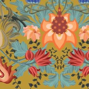 Art Nouveau Summer in Deep Mustard - Big Scale