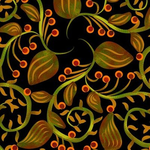 Art Nouveau Berry Vine on Black
