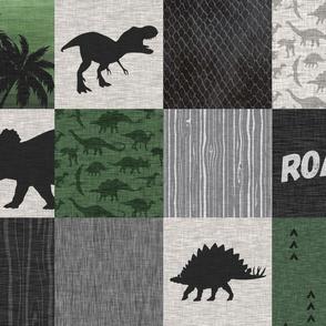 Dinosaur Roar Patchwork- green/black