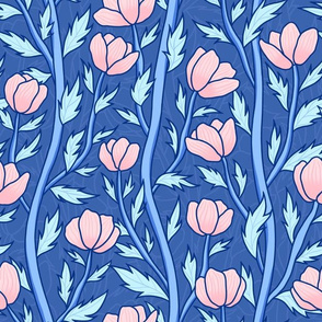 Pink flowers on blue