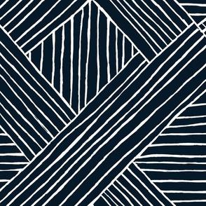 Striped Diamonds-Indigo