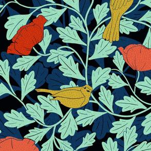 Art Nouveau Birds & Poppies