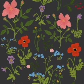 Spring floral- dark grey