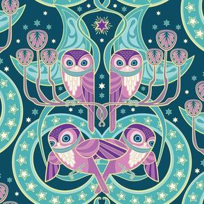 Art Nouveau Owls in teal moon