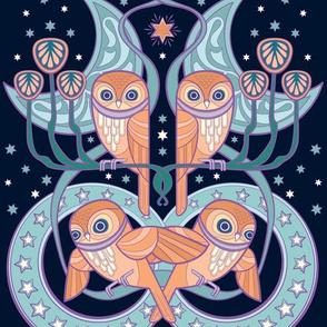 Art Nouveau Owls in Midnight