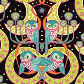 Art Nouveau Owls in gemstones