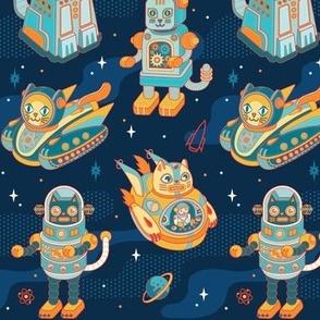 Cat Bots in Space in Blue Nebula