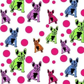 french bulldog fabric SPRING bubbles