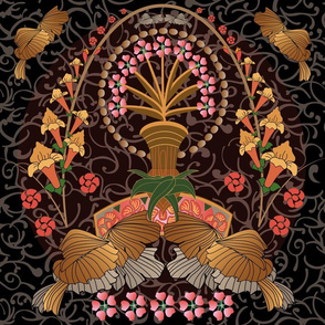 Art Nouveau flowers and feathers