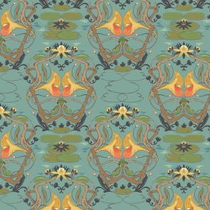 Art Nouveau Frog Wallpaper Hanging in There