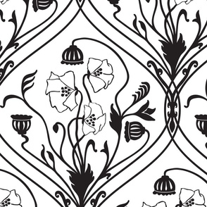 Art Nouveau Poppies in Black and White