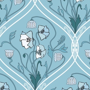 Art Nouveau Poppies - Blue and White