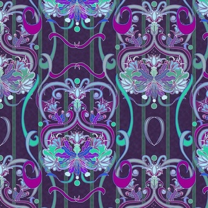 Dragon flower Art Nouveau -Plum