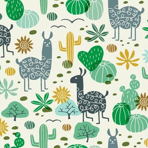 Llamas in the Desert green/gray