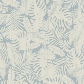 Ivory Plants on Vintage Blue / Big Scale