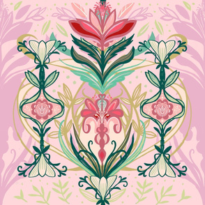 Pink, Green, Mauve Floral with Gold