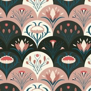 Mauve Art Nouveau Flowers
