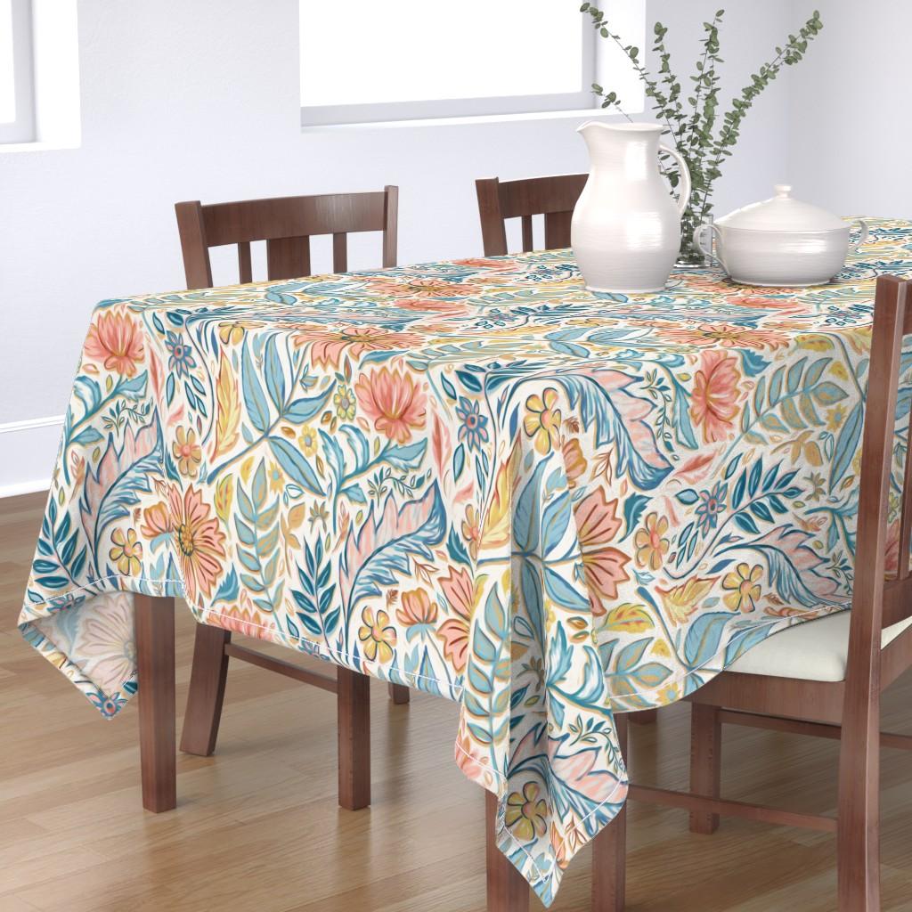 Bantam Rectangular Tablecloth featuring Soft Peach and Blue Art Nouveau Floral by micklyn