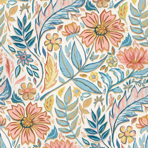 Soft Peach and Blue Art Nouveau Floral