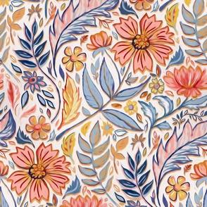 Coral, Pink and Blue Art Nouveau Floral large