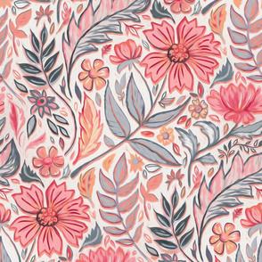 Melon Pink and Grey Art Nouveau Floral large