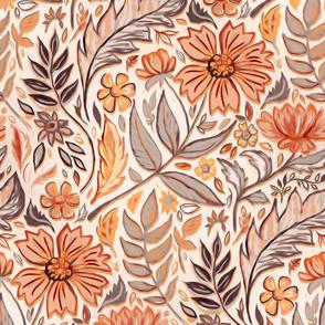 Autumn Neutrals Art Nouveau Floral large