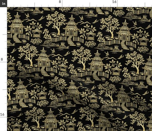 Chinoiserie Pagoda Gold And Black Small Spoonflower
