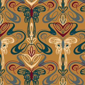 Art Nouveau Butterflies- Gold