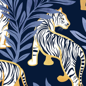 Large jumbo scale // Nouveau white tigers // navy blue background blue leaves golden lines white animals