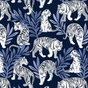 Small scale // Nouveau white tigers // navy blue background blue leaves silver lines white animal
