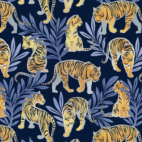 Small scale // Nouveau yellow tigers // navy blue background blue leaves silver lines yellow gold animals