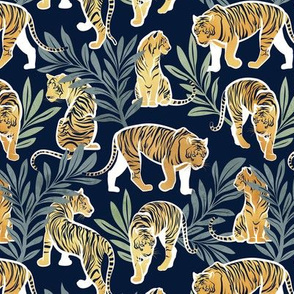 Small scale // Nouveau yellow tigers // navy blue background green leaves white lines yellow gold animals